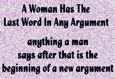 E-cards About Men vs Women | Categories » Men vs Women » A woman has the last word in any ...