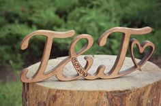Rustic Free Standing Wood Initials, Wedding Anniversary Gift, Script Wood Letters, Wood Letters for Home Decor, Rustic Wedding Decor 5th Anniversary Gift Ideas, Wedding Anniversary Gifts, Wedding Gifts, Wood Initials, Ring Holder Wedding, Handmade Wooden Toys, Wood Letters, Bridal Shower Gifts, Valentine Day Gifts
