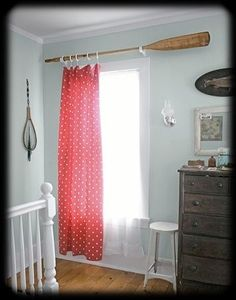 Coastal Decor, Beach & Nautical Decor, Crafts & Shopping: Decorating Nautical with Wooden Oars -as Wall Decor, Rods, Racks and Handrails Diy Curtain Rods, Diy Curtains, Curtain Ideas, Curtain Holder, Curtain Designs, Window Curtains, Beachy Curtains, Nautical Curtains, Cottage Curtains