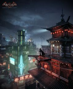 Batman Arkham Knight - Chinatown, Mark Ranson on ArtStation at https://www.artstation.com/artwork/batman-arkham-knight-chinatown-cd77feaa-5213-44db-8958-717536adfead