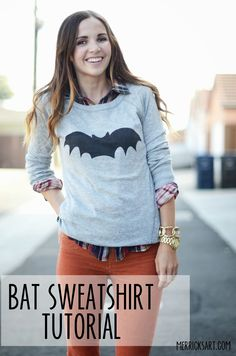 Bat sweatshirt tutorial using spray fabric paint - for Halloween or whenever ! - From Merrick's Art