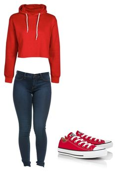 """""""Red Casuality"""" by hdflynn ❤ liked on Polyvore featuring Boohoo and Converse"""