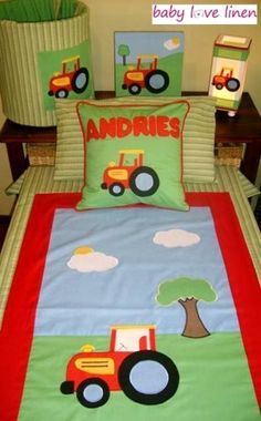 tractor+baby+bedding | Appliqued Tractor Toddler Bedding