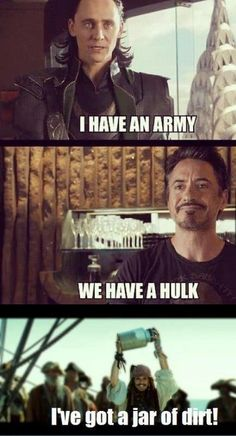 This is for all those Avenger fans... wait, is that Jack Sparrow holding a jar of... well crap...