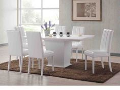 White Dining Table and Chairs - Home Furniture Design Dining Room Design, Dining Chairs, Black Dining Room, White Dining Set, White Dining Chairs, Dining Room Sets, White Kitchen Table, Dining Table Chairs, White Dining Table