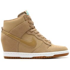 Nike Womens Dunk Sky Hi Essential ($150) ❤ liked on Polyvore featuring shoes, athletic shoes, shoe club, women, hidden wedge shoes, nike athletic shoes, brown athletic shoes, camo shoes and camouflage shoes