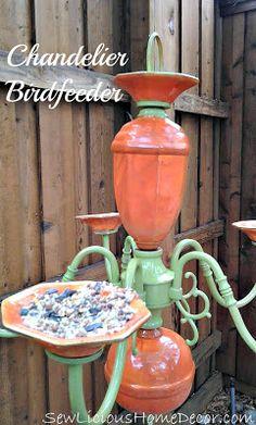 Chandelier Birdfeeder —garage sale find turned stylish and functional backyard piece!