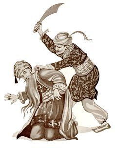 'Hassan seized the wicked Bluebeard, forced him to his knees, and with one stroke of the tyrant's own scimitar cut off his head.' Illustration from Fairy Tales - Illustrated by Margaret Tarrant