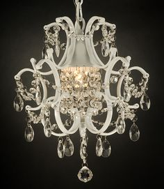 I never knew I could get awesome vintage looking chandeliers for the girls rooms at a cheap price until I started looking at wedding decor sites!!!!