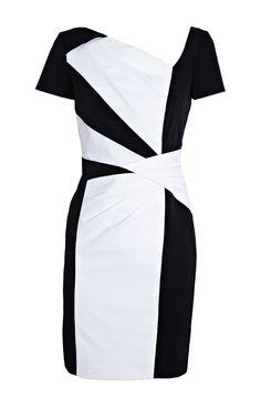 Karen Millen Graphic Colour Block Dress Black and White [#KMM035] - $85.39 :