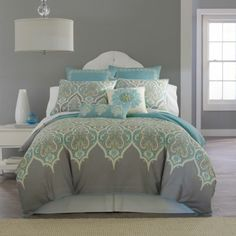 Our Bedding Set: Kashmir Comforter Set & Accessories - JCPenney Dream Bedroom, Home Bedroom, Bedroom Decor, Master Bedroom, Bedroom Sets, Bedroom Turquoise, Teal Comforter, Dorm Bedding, Bed Sets
