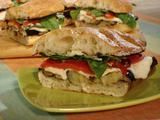 Grilled Eggplant and Fresh Mozzarella on Ciabatta with Roasted Red Peppers, Garlic Mayonnaise, Fresh Basil and Arugula Recipe