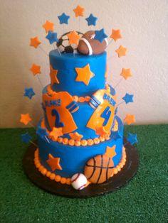 Sports themed birthday cake