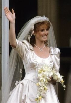 "July 1986 When Sarah wed the Queen's second son, Prince Andrew, her tiara, often called the York Diamond tiara, was her ""something new."" The beautiful diamond piece was given to her by the Queen and Prince Philip as a wedding gift. Royal Wedding Gowns, Wedding Tiaras, Royal Weddings, Wedding Dresses, Blue Weddings, Second Weddings, Romantic Weddings, Wedding Bouquets, Celebrity Wedding Photos"