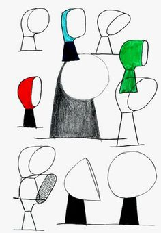 Sketches about the Binic lamp, by Ionna Vautrin for Foscarini