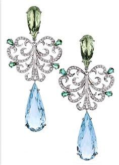 Brumani ~ Emeralds, Moldavites, Diamonds and Aquamarines chandeliers <3