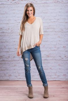"""""""Make A Choice Tee, Tan"""" This high-low tee is perfect for when you can't make a choice on what to wear! Throw this super comfy top on with some distressed jeans and boots or booties for a fab casual look!  #newarrivals #shopthemint"""