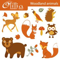 Woodland animals - set includes 12 clipart graphics.  Great for your craft and creative projects.