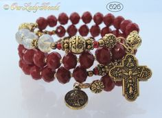 Rosary Bracelet Wrap,Red Crystals,Bridal,Mother's Day Gift,Godmother's Gift,Confirmation Gift,Catholic Bracelet,Religious Gift,#626 by OURLADYBeads on Etsy