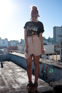 Girls! You can buy the mens tee in a size down, and roll the sleeves for an edgy look. Pair it with shorts or a skirt!