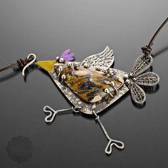 Large Sterling SIlver Handmade Bird Pendant Leather Bib Necklace | popnicute - on ArtFire
