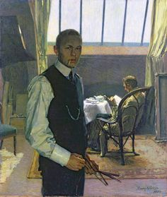 Franz Nölken (German, 1884-1918) - Self-portrait in the Studio, 1904 - Oil on canvas - Kunsthalle Hamburg (Germany)