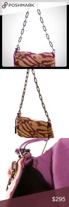 """🚨Gucci evening Bag Steal🚨 Very Good. Light surface scratches and tarnishing at hardware; slight markings at interior 7"""" w 5 1/4"""" h  Ochre and multicolor bead embellished Gucci bag with gold-tone hardware, single chain-link shoulder strap, purple satin lining and snap closure at front flap. Includes dust bag. Gucci Bags"""