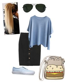 R A N D O M by bye18 on Polyvore featuring polyvore fashion style Monki Pusheen Ray-Ban Vans clothing