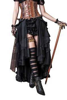 online shopping for HaoLin Steampunk Retro Victorian Punk Cincher Lace Long  Ruffle Pencil Skirt from top store. See new offer for HaoLin Steampunk  Retro ... 9f4d68d83b6