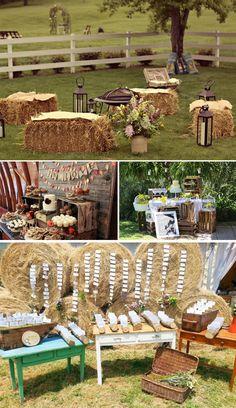 Ideas para bodas campestres Wedding In The Woods, Farm Wedding, Rustic Wedding, Barn Parties, Western Parties, Ceremony Seating, Wedding Seating, Anniversaire Cow-boy, Picnic Theme