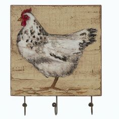 Hand Painted Wooden Signs Chickens | French Hen Hooks, Set of 2 from My Pet Chicken