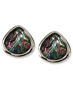 Jones New York Earrings, Silver-Tone Teal and Abalone Stud Earrings - Fashion Earrings - Jewelry & Watches - Macy's