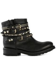 Totally in love with my Ash Buckled Studded Biker Boots Ash Boots, Black Biker Boots, Black Mid Calf Boots, Motorcycle Boots, Engineer Boots, Studded Boots, Buckle Boots, Fall Shoes, Cool Boots