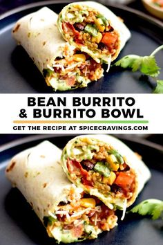 This Bean Burrito recipe is a Mexican-inspired vegetarian meal that can easily be transformed into a Burrito Bowl and quickly cooks in the Instant Pot beanburritorecipe burritobowl spicecravings Tasty Vegetarian Recipes, Vegan Dinner Recipes, Vegan Dinners, Veggie Recipes, Mexican Food Recipes, Cooking Recipes, Healthy Recipes, Vegetarian Mexican Food, Mexican Bowl Recipe