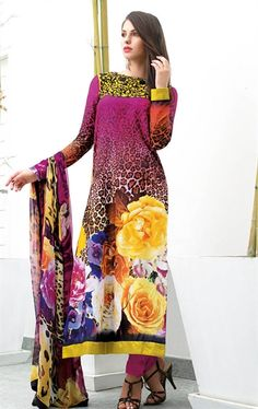 Picture of Deep Purple Indian Churidar Kameez
