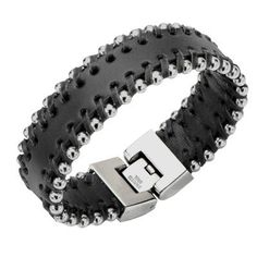 Tribal Hollywood Metal and Leather Bracelet Metal Meltdown Side View
