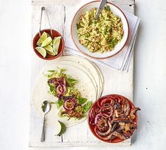 Vegetarian Healthy Mushroom fajitas with avocado houmous