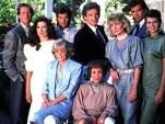 Falcon Crest - (1981-1990). Partial Cast:  Jane Wyman, Robert Foxworth, Susan Sullivan, Lorenzo Lamas, David Selby, Abby Dalton, Margaret Ladd, Ana Alicia, Jamie Rose, William R. Moses, Laura Johnson, Chao-Li Chi, Mel Ferrer, Cliff Robertson, Simon MacCorkindale, Sarah Douglas, Paul Freeman, Morgan Fairchild, Cesar Romero, Ken Olin, John Callahan, Dana Sparks, Brett Cullen, David Beecroft,  Kristian Alfonso, Gregory Harrison,  Wendy Phillips, Andrea Thompson and Rod Taylor.