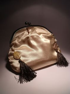 Ivory satin clutch with long chain, freshwater pearls, jasper and brown tassels