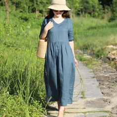 Simple V Neck Half Sleeve Women Casual Loose Long Folded Dress - Buykud