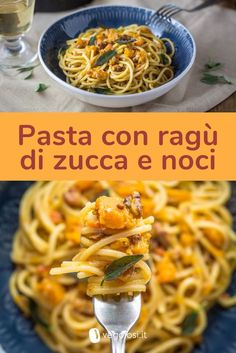 Spaghetti con ragù di zucca, noci e salvia fritta Veggie Recipes, Pasta Recipes, Vegetarian Recipes, Cooking Recipes, Healthy Recipes, Cocina Natural, Chicken Wing Recipes, Wonderful Recipe, Vegan Dishes