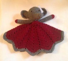 Crochet crimson and white Alabama elephant by KathrynsHandiworks