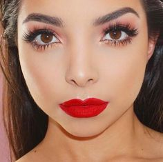 Close up details, fresh glowing skin from kamilabravo. Beauty Tip: Line your lips for a perfect pout! Try Motives Lip Crayon in Retro Red.