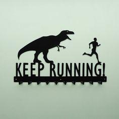 @Kelly Teske Goldsworthy Reifenberg  Keep Running TRex and Running Man Medal Hanger