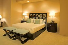 When lighting a bedroom, put relaxation first. Overhead lighting should be paired with task lighting (bedside lamps or sconces). Make sure all lights have dimmers, so you can turn down the brightness when reading or settling into bed.  - GoodHousekeeping.com