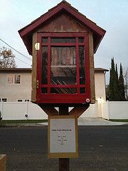 The little free library outside your home. take a book, leave a book.  WHAT A FUN IDEA!
