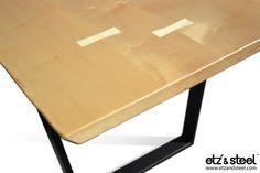Etz & Steel Penelope Live Edge Hard Maple Table  #liveedge #dinningtable #woodslab #interiordesign #wood Visit us: www.etzandsteel.com