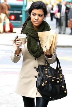 This is me summed up in a nutshell. Big scarf. Oversized purse. And a cup coffee in hand.