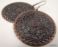 Ornate Medallion Earrings, Antiqued Copper Earrings hudson-valley-etsy-team