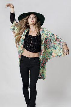 Song Bird Kimono - Talia Floral | Arnhem Love the movement in this photo
